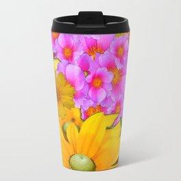 MODERN RAZZLE-DAZZLE PINK-YELLOW FLORALS Travel Mug
