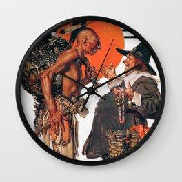 Joseph Christian Leyendecker - Thanksgiving, Indians To Negotiate With Pilgrim Wall Clock