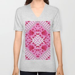 ABSTRACT PINK ROSES and WHITE COLOR PATTERNS Unisex V-Neck