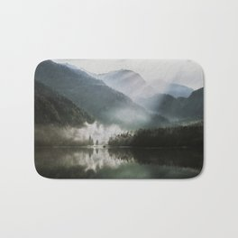 Dreamlike Morning at the Lake - Nature Forest Mountain Photography Bath Mat