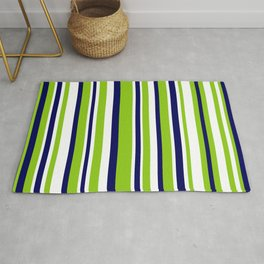 Lime Green Bright Navy Blue and White Vertical Stripes Pattern Rug