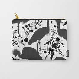 Black crowned crane with grass and flowers black silhouette Carry-All Pouch