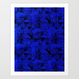 V25 Blue Architecture Design Traditional Moroccan Rug Background. Art Print