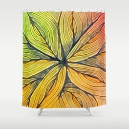 Doodled Aura-Leah Digitized Macro Shower Curtain