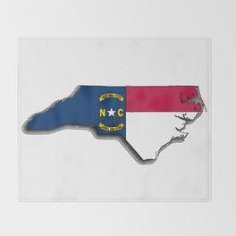 North Carolina Map with North Carolinian Flag Throw Blanket