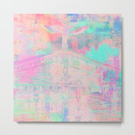 Totem Cabin Abstract - Pastel Metal Print