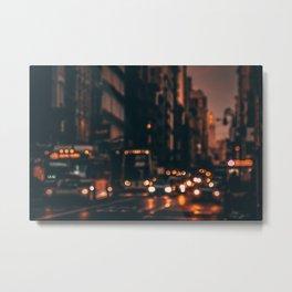 Evening broadway traffic in New York City Metal Print