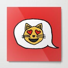 Emoji - Cat with Heart Eyes Metal Print