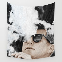 Cigar Smoker Cigar Lover John F Kennedy Gifts Black And White Photo Tees Wall Tapestry