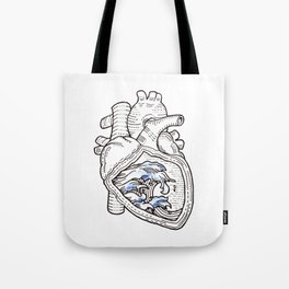 Ocean heart | Retro waves Tote Bag