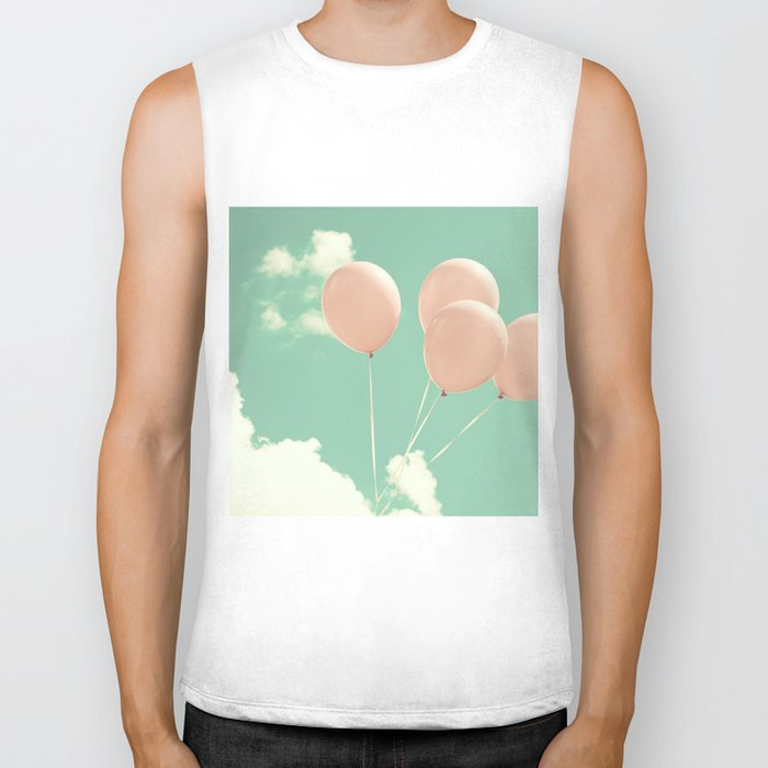 Soft Pink Balloons on Soft Blue - Turquoise Sky  Biker Tank
