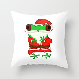 Frog Santa Claus Throw Pillow