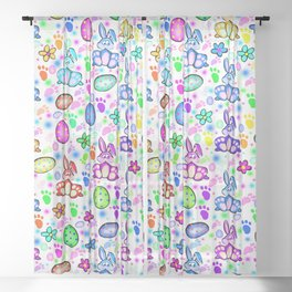 Easter Bunny Rainbow Party Sheer Curtain