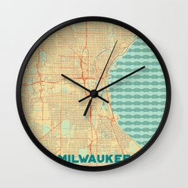 Milwaukee Map Retro Wall Clock