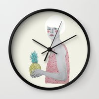 kpop Wall Clocks featuring Ana by Sofia Bonati