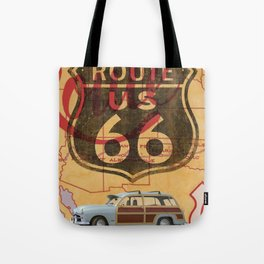 Route 66 Vintage Travel Poster Tote Bag