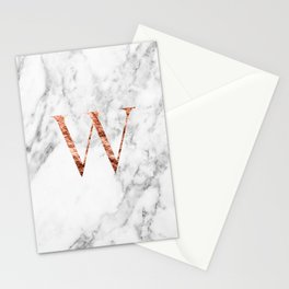 Monogram rose gold marble W Stationery Cards