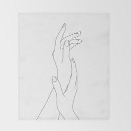 Hands line drawing illustration - Dia Throw Blanket