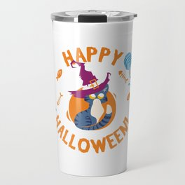 Happy Halloween Funny Witch Kitty Travel Mug
