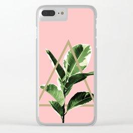 Ficus Elastica Geo Finesse #1 #tropical #foliage #decor #art #society6 Clear iPhone Case