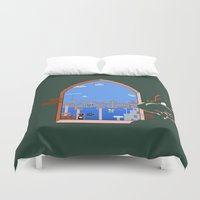 mario bros Duvet Covers featuring Our Hero Approaches (Green Background) - Mario Bros. by Studio Momo╰༼ ಠ益ಠ ༽