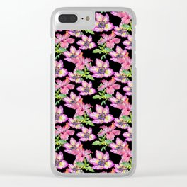 Pink lilac watercolor hand painted tropical floral pattern Clear iPhone Case
