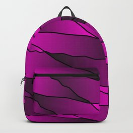 Slanting repetitive lines and rhombuses on iridescent pink with intersection of glare. Backpack