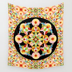 Pastel Carousel Black Circle Wall Tapestry