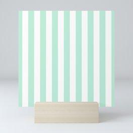 Mint green and White stripes-vertical Mini Art Print