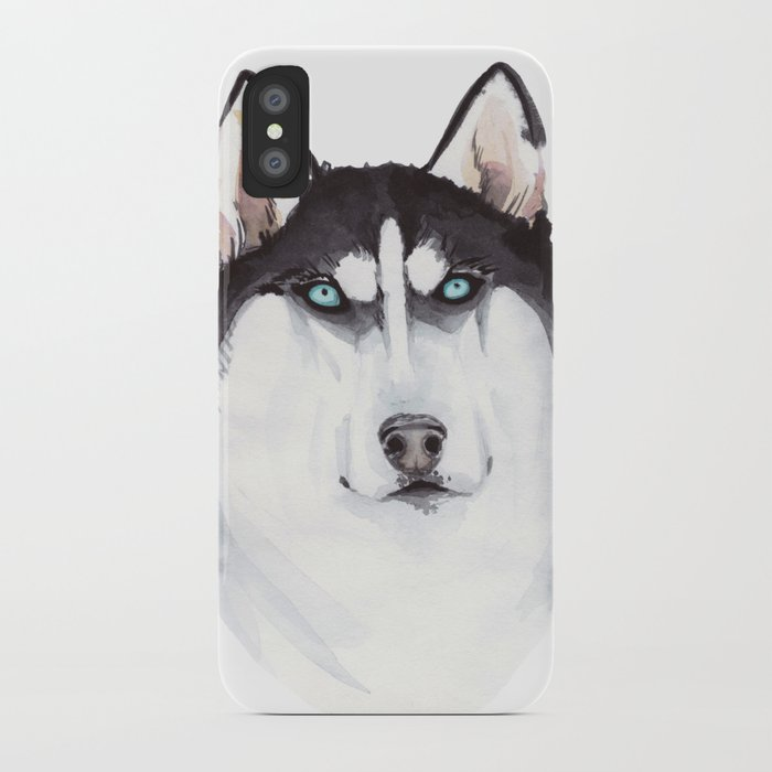 Watercolor Blue Eyed Husky Iphone Case By Veravero