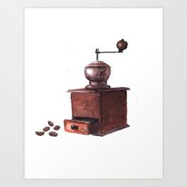 Vintage Coffee Mill Watercolor Art Print
