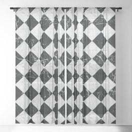 Cubic - Black & White Marble #895 Sheer Curtain