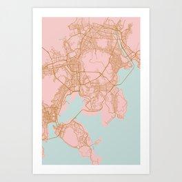 Busan map, South Korea Art Print