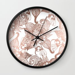 Vintage Faux Rose Gold Rustic Floral Drawings Wall Clock
