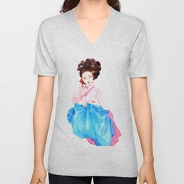 Watercolor Korean beauty - Pink&Blue Unisex V-Neck