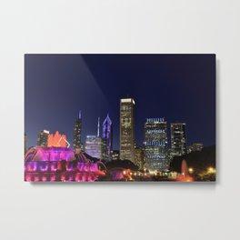 Chicago skyline and Buckingham Fountain at night. Metal Print