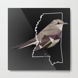 Mississippi - Northern Mockingbird (Black) Metal Print