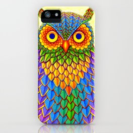Colorful Rainbow Owl iPhone Case