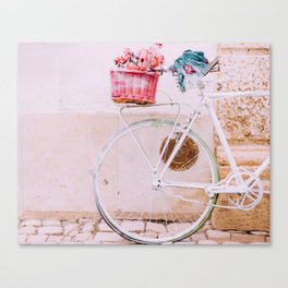 White Bike, Pink Basket Canvas Print