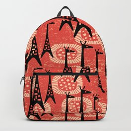 Mid Century Modern Giraffe Pattern Black and Red Backpack