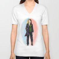 fringe V-neck T-shirts featuring 2 OLIVIAS DUNHAM (FRINGE) by Dianah B