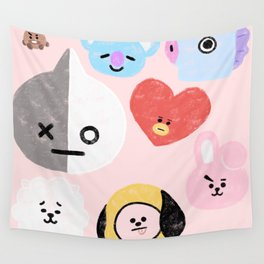BTS21 Characters in Pastel Wall Tapestry
