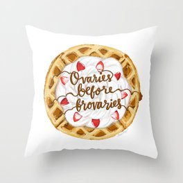 Ovaries Before Brovaries Waffle Throw Pillow
