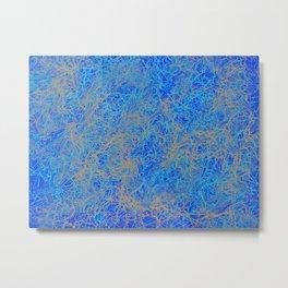 River Print - Dark Blue, Aqua, and Gray Palette Metal Print