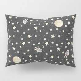 Space - Stars Moon and Astronauts on black Pillow Sham