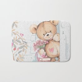 Cute Valentine's Bear Bath Mat