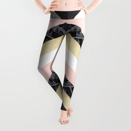 Chevron Pattern 1. Marble and Glitter #decor #buyart Leggings