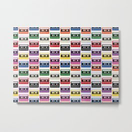 Cassettes In a Row Metal Print