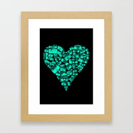 Boombox Heart Framed Art Print