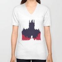 middle earth V-neck T-shirts featuring Middle-earth: Shadow of Mordor by Michael Fisher